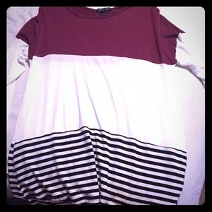 Burgundy, striped top